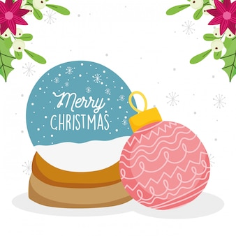 Feliz navidad celebración snowglobe bola de nieve decoración flores