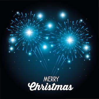 Feliz navidad chispeantes fuegos artificiales