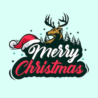 Feliz navidad con ciervos y gorro de santa
