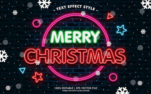 Feliz navidad círculo neón efectos de texto estilo