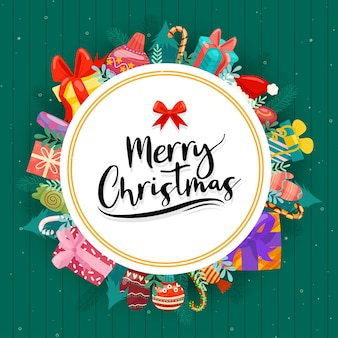 Feliz navidad con coloridas cajas de regalo decoradas en círculos