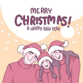 Feliz navidad con concepto de familia