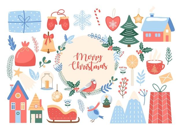 Feliz navidad conjunto de letras. texto de feliz navidad en corona floral círculo