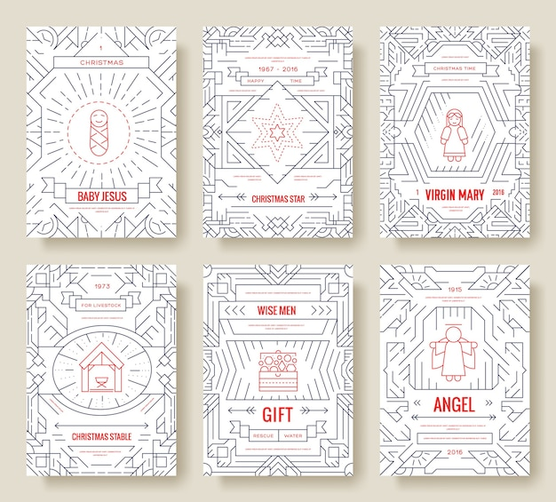 Feliz navidad conjunto de tarjetas ilustración