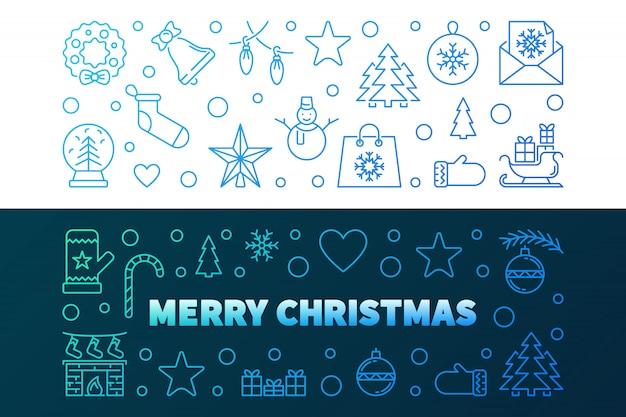 Feliz navidad contorno coloridas pancartas