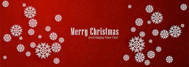 Feliz navidad copos de nieve banner rojo