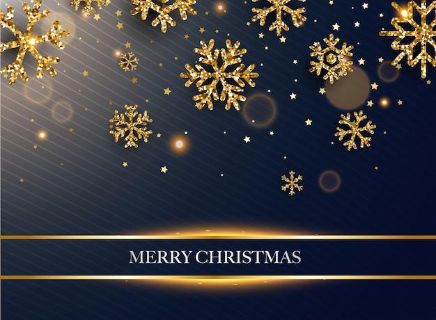 Feliz navidad. copos de nieve de brillo dorado sobre fondo oscuro.