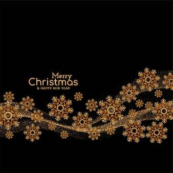 Feliz navidad con copos de nieve y brillos