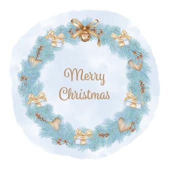 Feliz navidad corona con ramas de pino, cajas de regalo y cinta