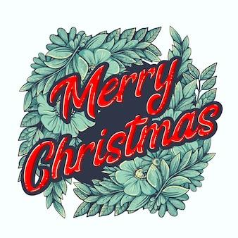 Feliz navidad decoración con abeto y adorno