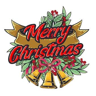Feliz navidad decoración con cinta y adorno