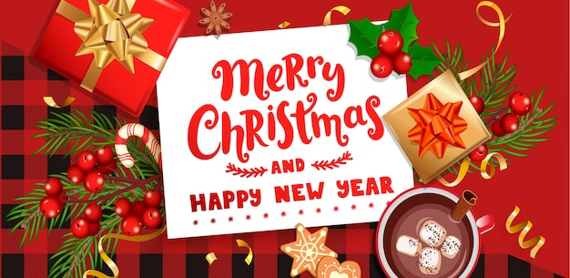 Feliz navidad deseando tarjeta para la nueva temporada