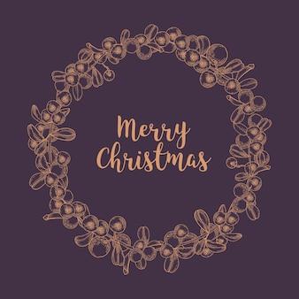 Feliz navidad deseo dentro de la corona o guirnalda circular hecha de arándanos rojos dibujados con líneas de contorno en el espacio oscuro