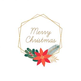 Feliz navidad dibujado a mano elegante marco aislado
