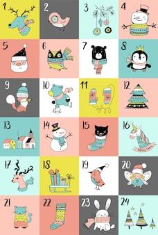 Feliz navidad dibujados a mano lindos garabatos, calendario de adviento. cartel navideño con animales y personajes.