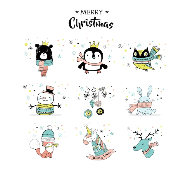 Feliz navidad dibujados a mano lindos garabatos, pegatinas, ilustraciones. pingüino, oso, búho, ciervo y unicornio