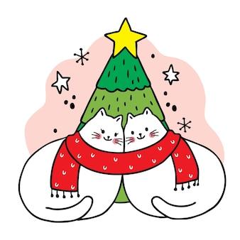 Feliz navidad dibujar a mano dibujos animados lindo pareja gatos y árbol de navidad.