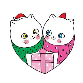 Feliz navidad dibujar a mano dibujos animados lindo pareja gatos y caja de regalo.