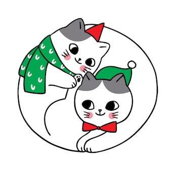 Feliz navidad dibujar a mano dibujos animados lindo pareja de gatos.