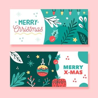 Feliz navidad con diseño de banner de luces