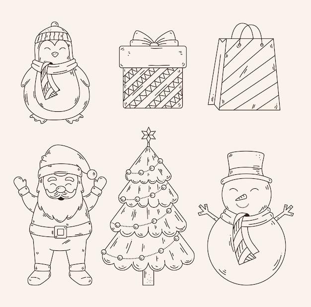 Feliz navidad diseño de conjunto de iconos, temporada de invierno y decoración