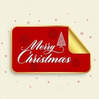 Feliz navidad diseño de etiqueta dorada
