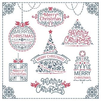 Feliz navidad diseño etiquetas conjunto