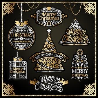 Feliz navidad diseño etiquetas golden set