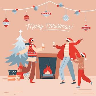 Feliz navidad diseño plano escena familiar