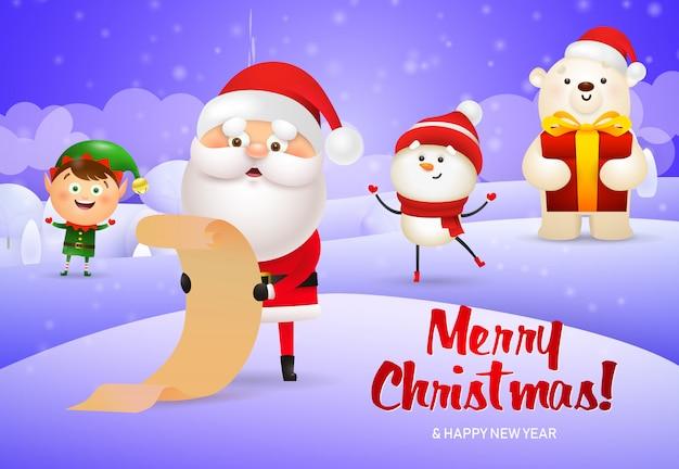 Feliz navidad diseño de santa claus con pergamino, duende, muñeco de nieve