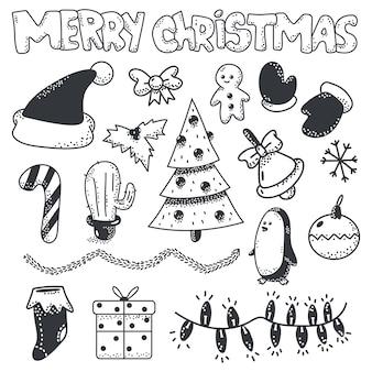 Feliz navidad doodle conjunto de elementos de dibujo sobre un fondo blanco.