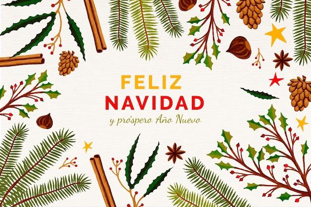 Feliz navidad dorada dibujada a mano
