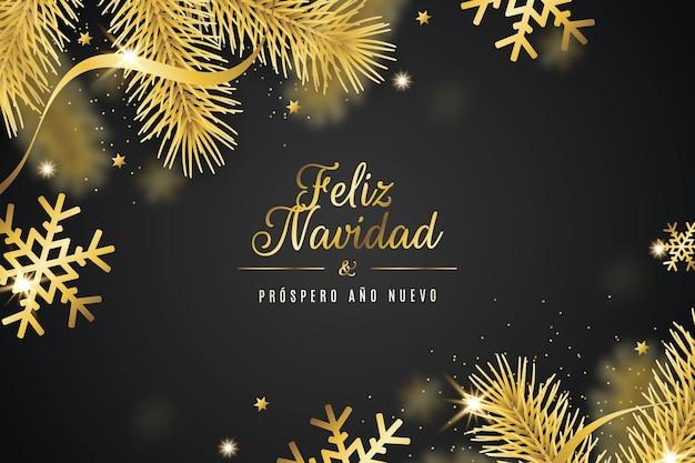 Feliz navidad dorada realista