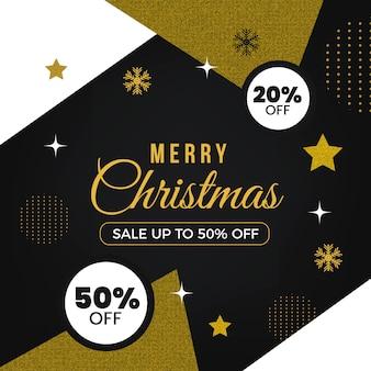 Feliz navidad dorada con veinte por ciento de descuento