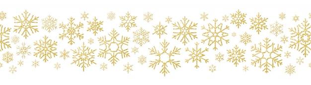 Feliz navidad efecto de decoración de vacaciones. copo de nieve dorada de patrones sin fisuras.