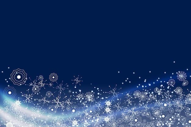 Feliz navidad efecto remolino de nieve con copos de nieve blancos brillantes realistas