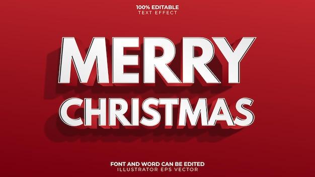 Feliz navidad efecto texto con sombra roja completa editable vector