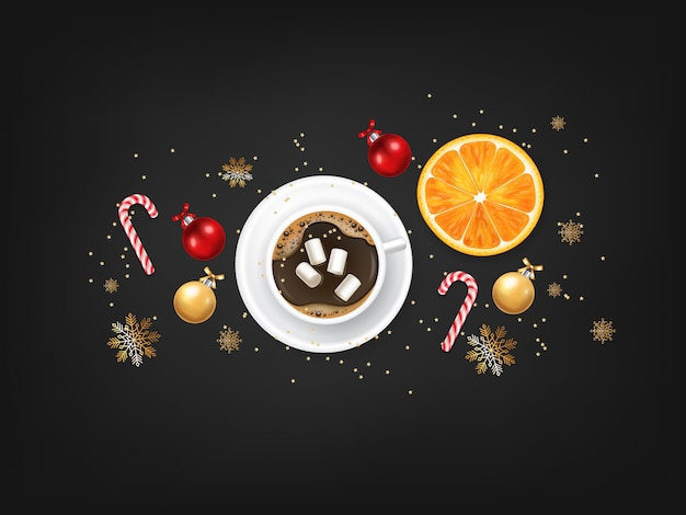 Feliz navidad, elementos de diseño decorativo, invierno, fondo de celebración, luces realistas, café y malvavisco, dulces navideños, bola roja y naranja