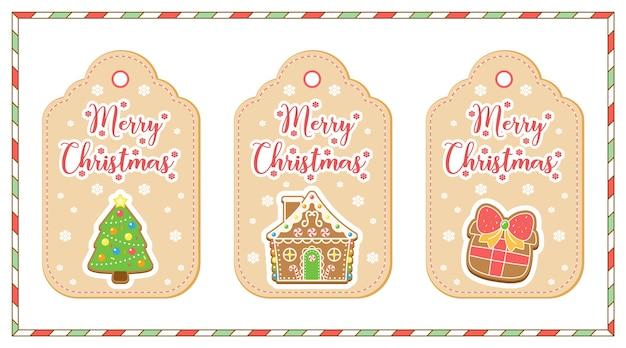 Feliz navidad elementos lindos dibujo tarjetas de etiqueta árbol de navidad, casa de pan de jengibre y caja de regalo