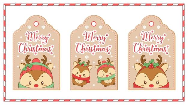 Feliz navidad etiquetas lindos renos dibujo para vacaciones de temporada de invierno