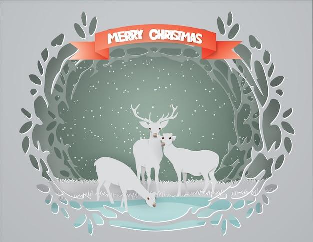 Feliz navidad con la familia de los ciervos.