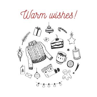 Feliz navidad, felices fiestas y año nuevo acogedora colección festiva