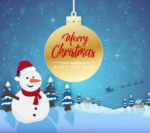 Feliz navidad feliz año nuevo 2019 y muñeco de nieve con nieve