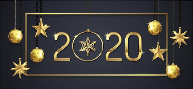 Feliz navidad y feliz año nuevo 2020 banner template