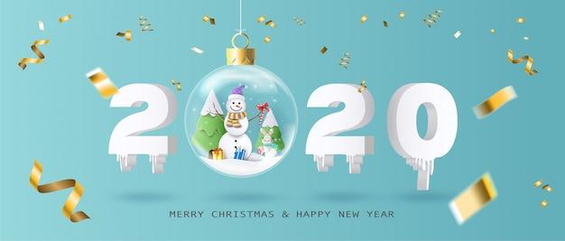 Feliz navidad y feliz año nuevo 2020 con bola de navidad