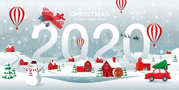 Feliz navidad y feliz año nuevo 2020 ciudad natal en el fondo de invierno de forrest