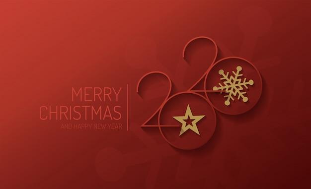 Feliz navidad y feliz año nuevo 2020 diseño vectorial