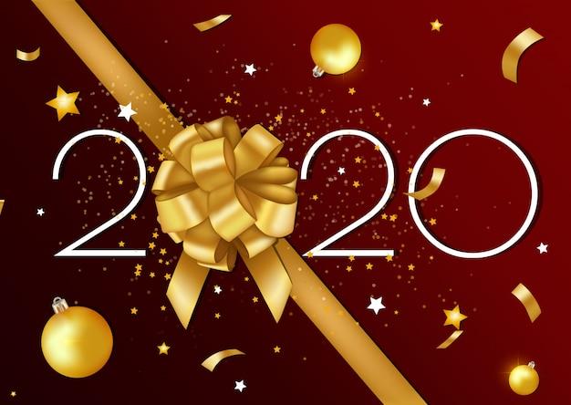 Feliz navidad y feliz año nuevo 2020 tarjeta de felicitación y póster con cinta dorada y estrellas.