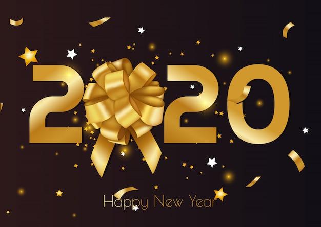 Feliz navidad y feliz año nuevo 2020 tarjeta de felicitación y póster con estrellas.