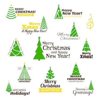 Feliz navidad y feliz año nuevo árbol saludos conjunto
